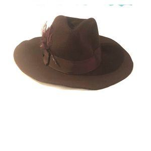 Trendy brown hat with feather